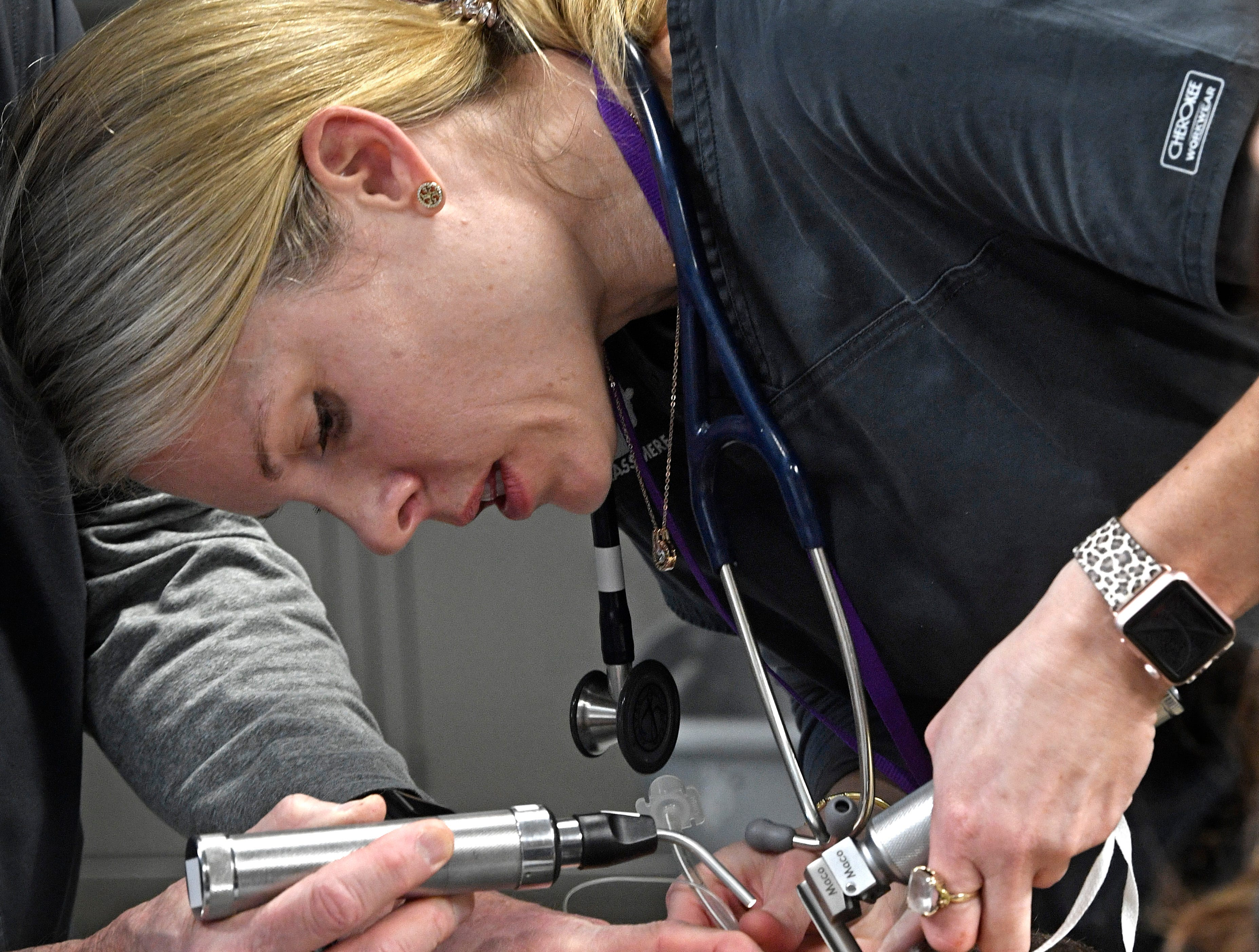Dr. Heather Robertson, Dir. of Veterinary Services, does a check-up on a sloth at the new 23,000 square-foot HCA Healthcare Veterinary Center at the Nashville Zoo.