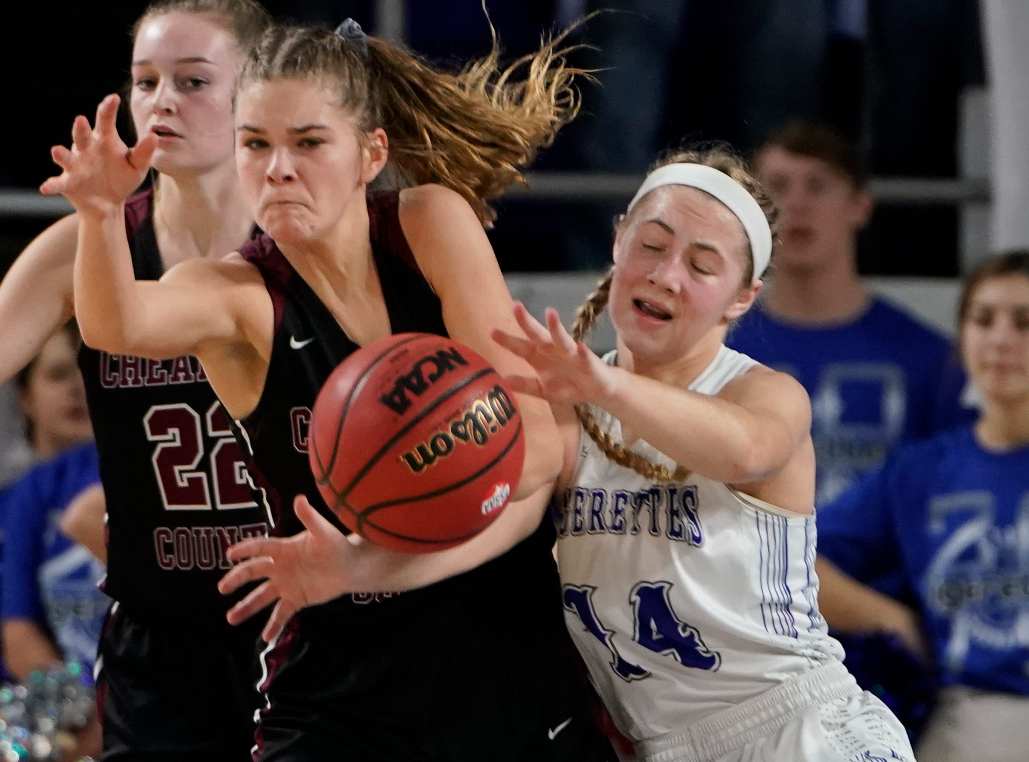 Cheatham Co. guard Emmy Nelson (3) and Macon Co. guard Abby Shoulders (14) battle for the ball during the second half of their semifinal game in the Division I Class AA Girls TSSAA Girls State Championships at Murphy Center Friday, March 8, 2019 in Murfreesboro, Tenn.