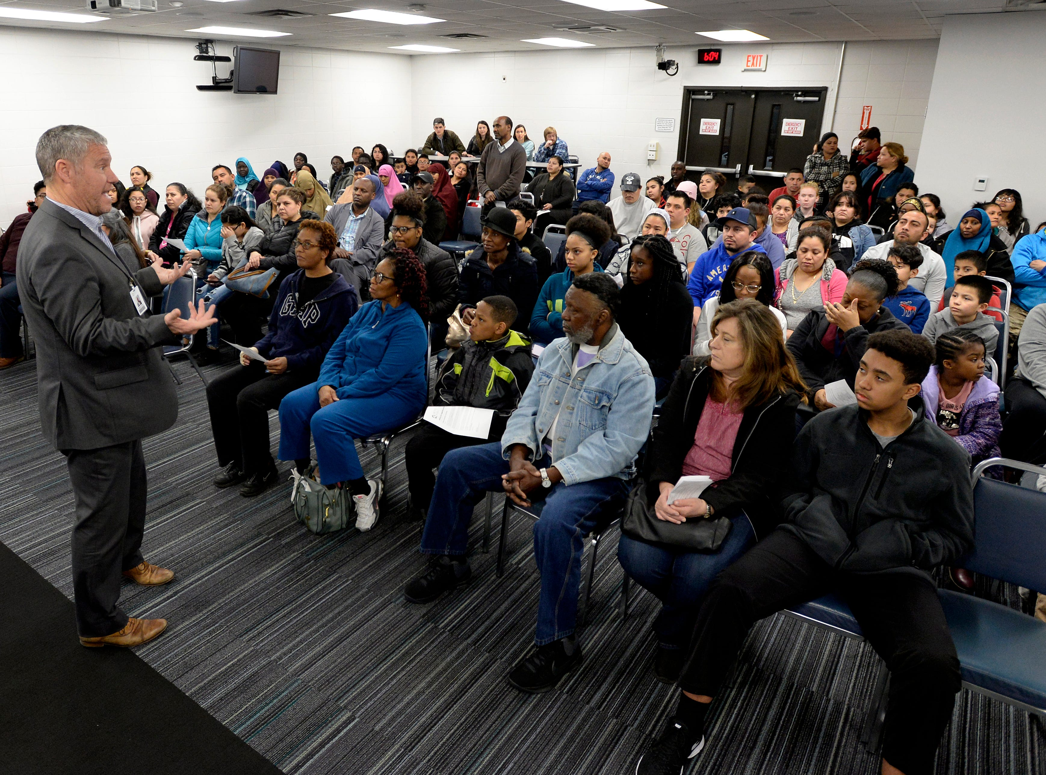 MNPS Executive Director of Charter Schools Dennis Queen answers questions during a parent meeting on Thursday, March 7, 2019 in Nashville, Tenn.
