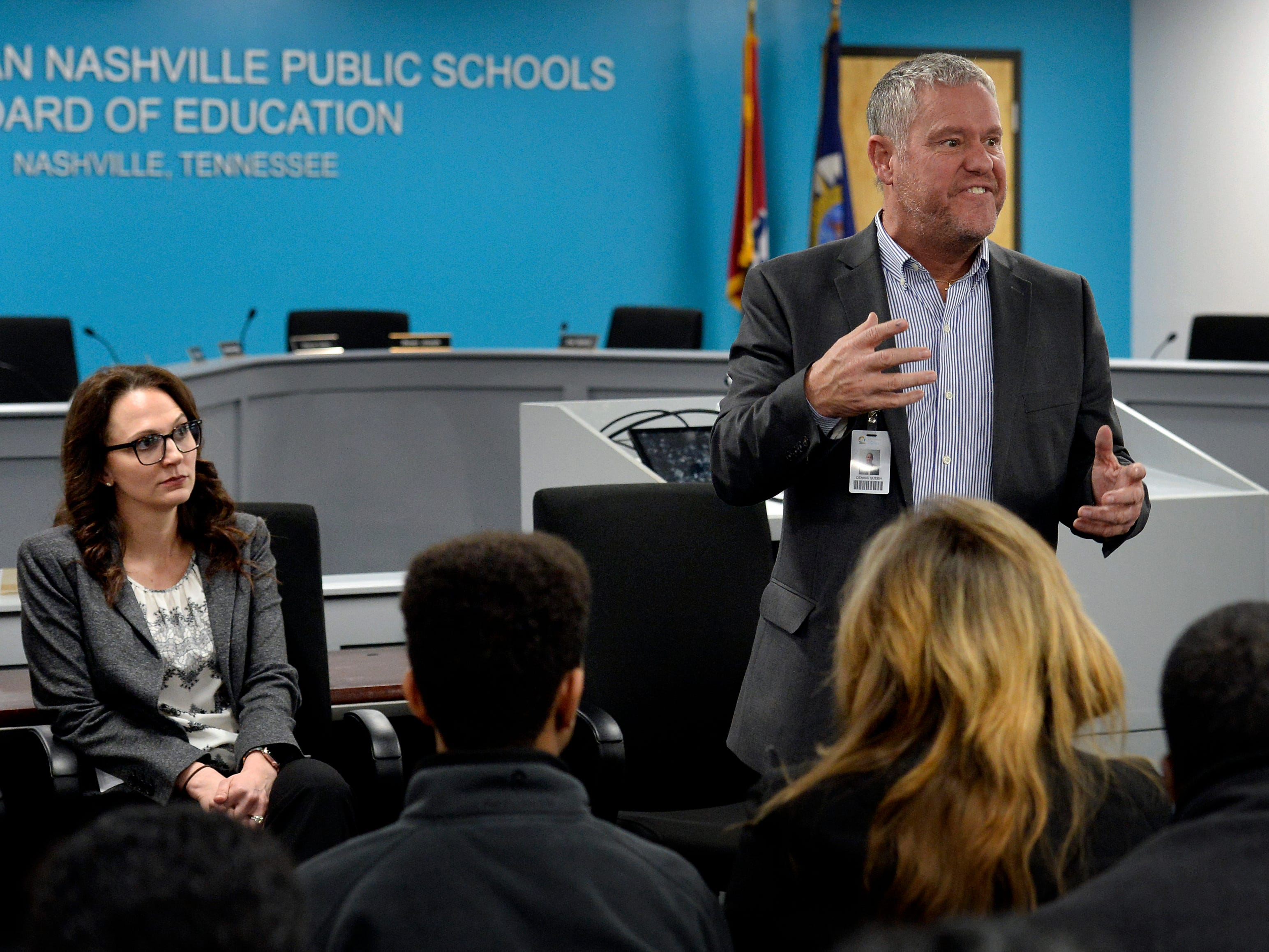 MNPS Executive Director of Charter Schools Dennis Queen expresses his frustration and sympathy for New Vision Academy charter school parents and students during a meeting on Thursday, March 7, 2019 in Nashville, Tenn.