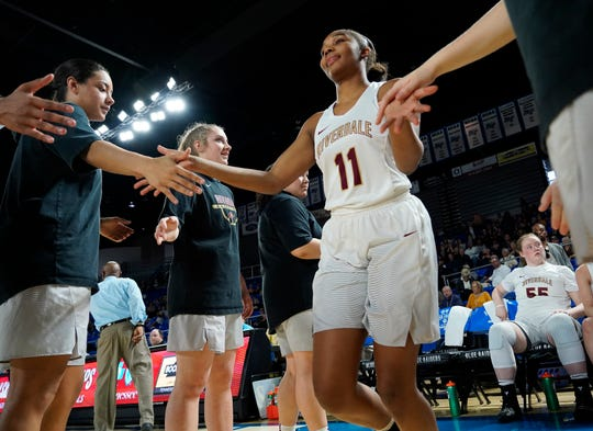 Riverdale guard Aislynn Hayes (11) is introduced before their semifinal game against Houston in the Division I Class AAA Girls TSSAA Girls State Championships at Murphy Center Friday, March 8, 2019 in Murfreesboro, Tenn.