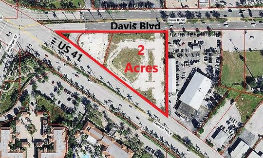 Aerial view of the mini-triangle site in East Naples where Trio was once planned. The land is up for sale again.