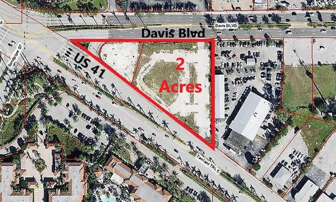 Aerial view of the mini-triangle site in East Naples where Trio was once planned. A new developer has emerged for a redesigned condo-hotel project on the roughly two-acre property, but whether it gets built could depend on whether Collier County agrees to approve tax rebates.