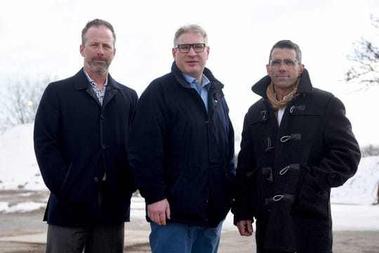 Mike Pembroke, Stephen Borg and John Durso, from left, are developing the former site of The Record newspaper on River St. in Hackensack. By summer, they expect to start construction on mixed-use residential development. Pembroke, Borg and Durso were photographed at the site on March 7, 2019.
