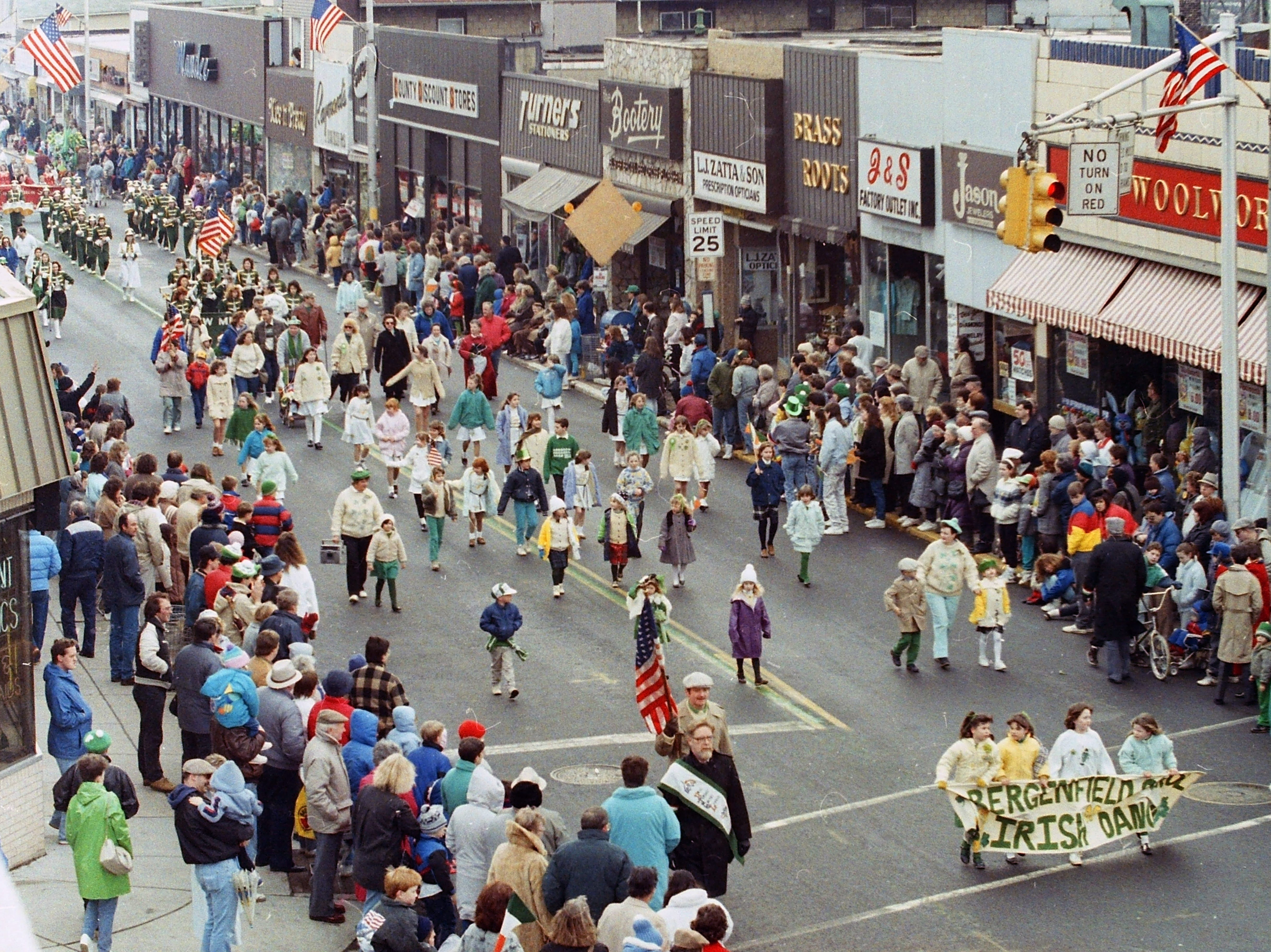 Scenes from the Bergen County St. Patrick's Day Parade down Washington Avenue in Bergenfield, March 12, 1989.
