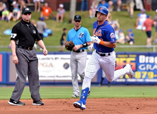 Mar 8, 2019; Port St. Lucie, FL, USA; New York Mets infielder Jeff McNeil (6) rounds the bases after hitting a solo home run against the Miami Marlins during a spring training game at First Data Field.