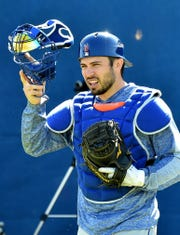 New York Mets catcher Travis d'Arnaud (18) during spring training at First Data Field in Port St. Lucie, Fla., on Feb. 15, 2019.