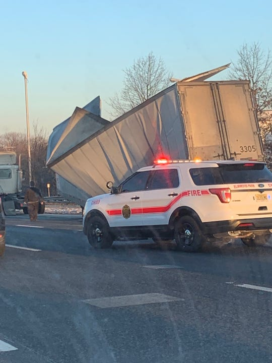 A tractor trailer collapsed in on itself on Route 80 west in Elmwood Park.