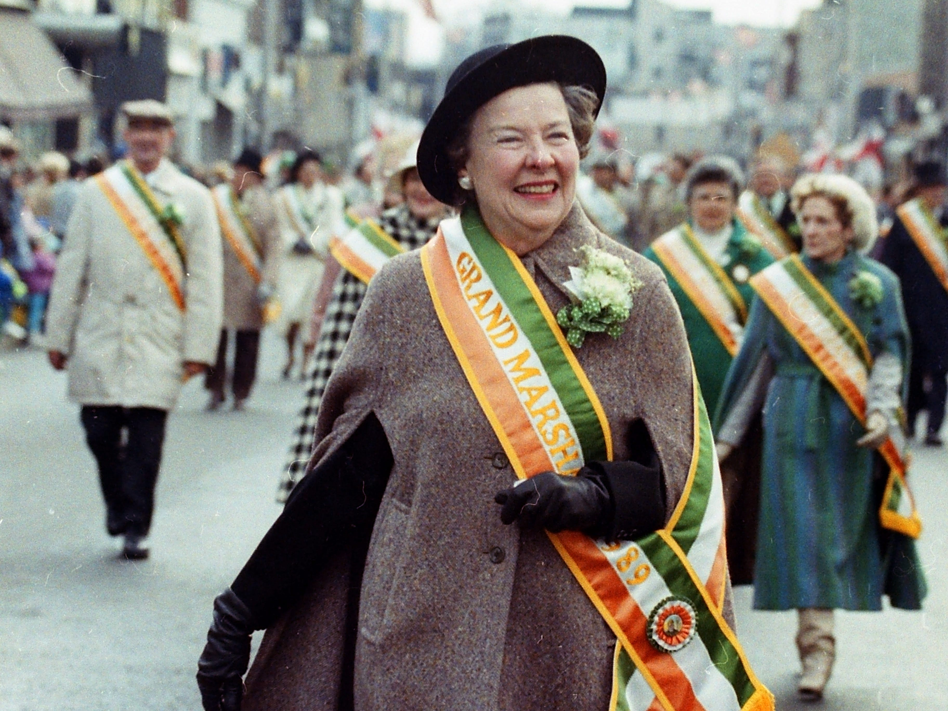 Grand Marshall Margaret Keane. Scenes from the Bergen County St. Patrick's Day Parade down Washington Avenue in Bergenfield, March 12, 1989.