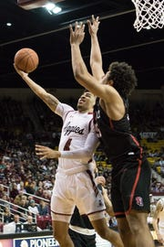 JoJo Zamora is one of three seniors on the New Mexico State men's basketball team who will play their final basketball game at the Pan American Center on Saturday.