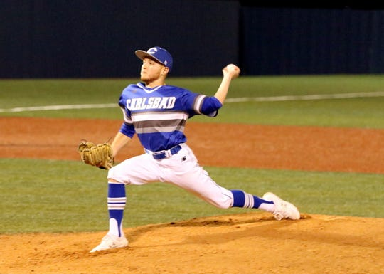 Jaydin Davis pitches during the first inning of Thursday's game against Burges. Carlsbad won, 15-1 in five innings.