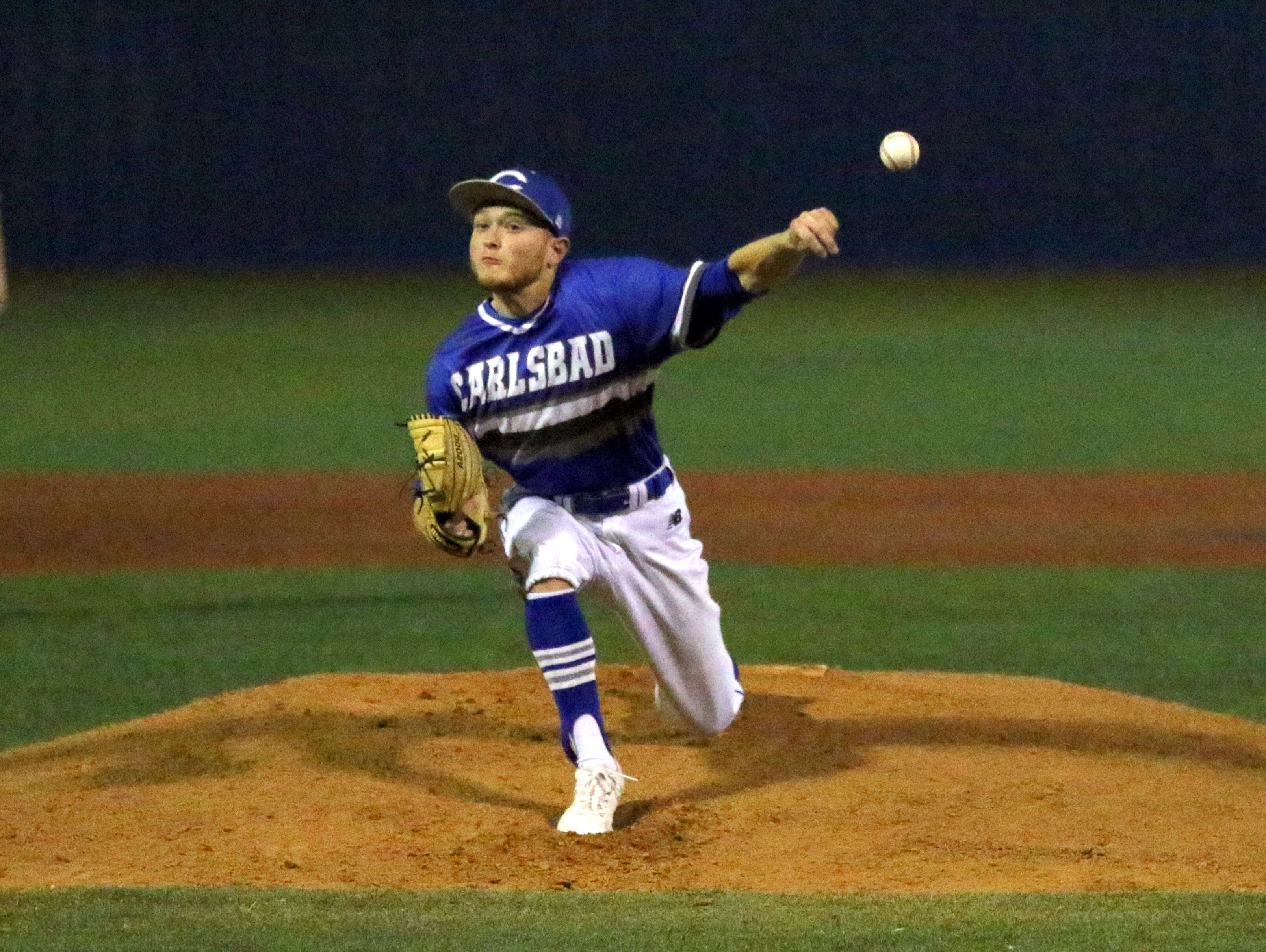 Jaydin Davis during the first inning of Thursday's game against Burges. Carlsbad won, 15-1 in five innings.