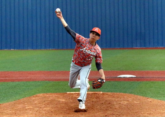 Jacob Orona pitches for Artesia. He pitched four innings for the Bulldogs against Valencia on Thursday. Artesia won, 12-5.