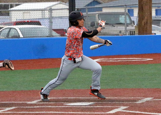 JR Bustamante collects a hit against Valencia on Thursday. Artesia won, 12-5.