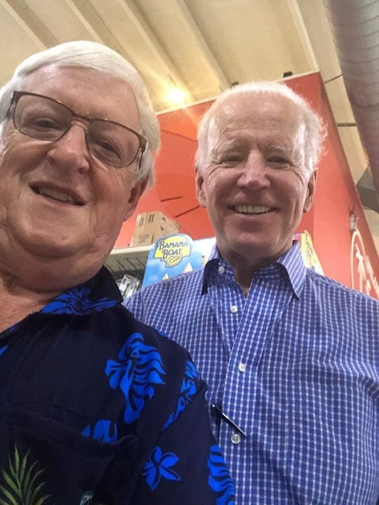 Tedd Wallace, former mayor of South Lyon, met former U.S. Vice-President Joe Biden while grocery shopping in St. Croix, Virgin Islands, on March 6.