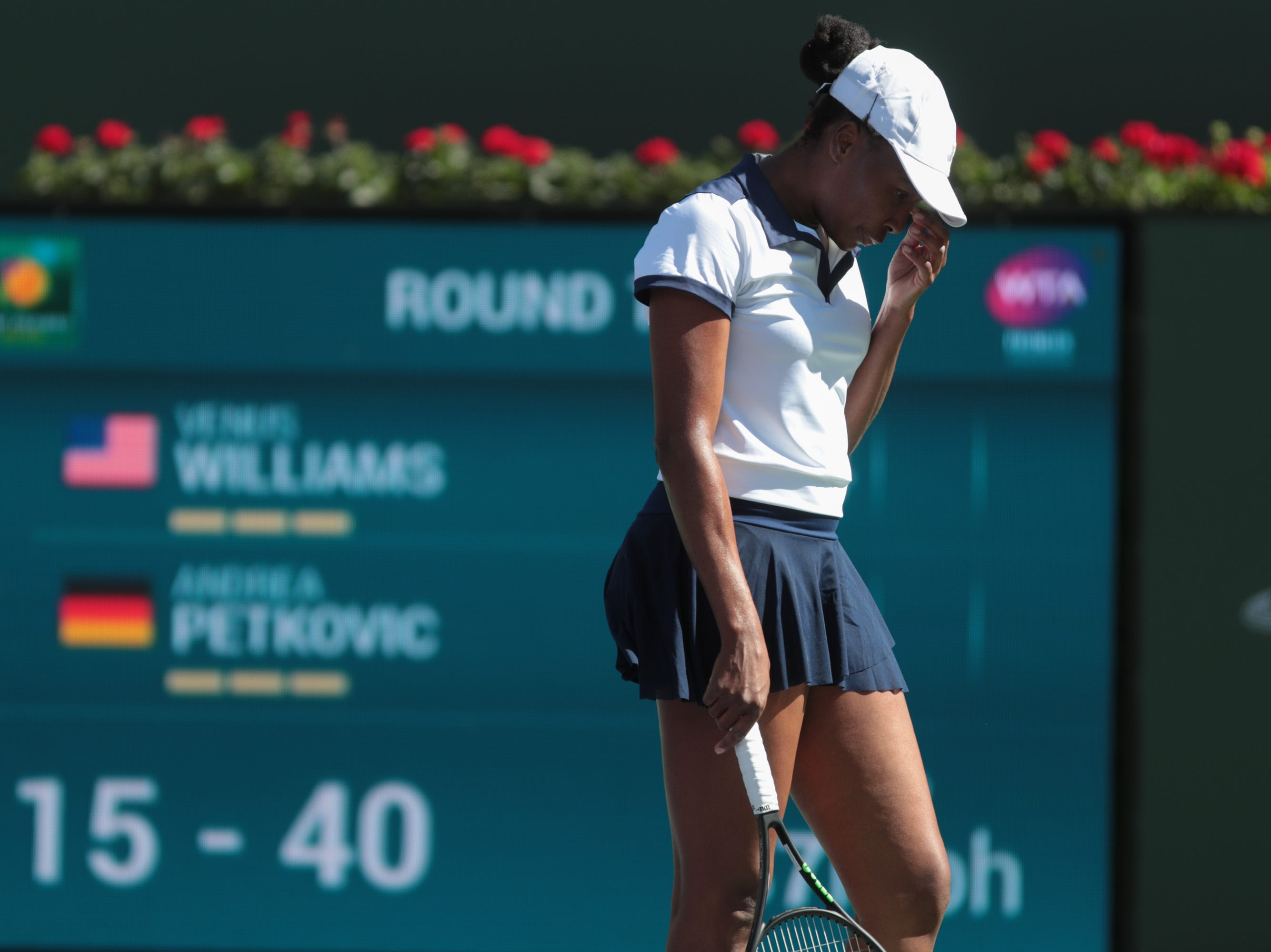 Venus Williams defeats Andrea Petkovic at the BNP Paribas Open, Indian Wells, Calif., Thursday, March 7, 2019.
