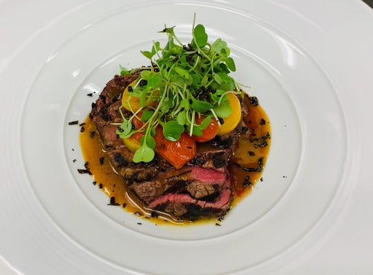 The beef tenderloin with heirloom tomatoes and black truffle at Nobu at the BNP Paribas Open in Indian Wells in March 2019.