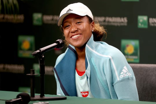 INDIAN WELLS, CALIFORNIA - MARCH 07: Naomi Osaka of Japan fields questions from the media at a press conference during the BNP Paribas Open at the Indian Wells Tennis Garden on March 07, 2019 in Indian Wells, California. (Photo by Matthew Stockman/Getty Images)