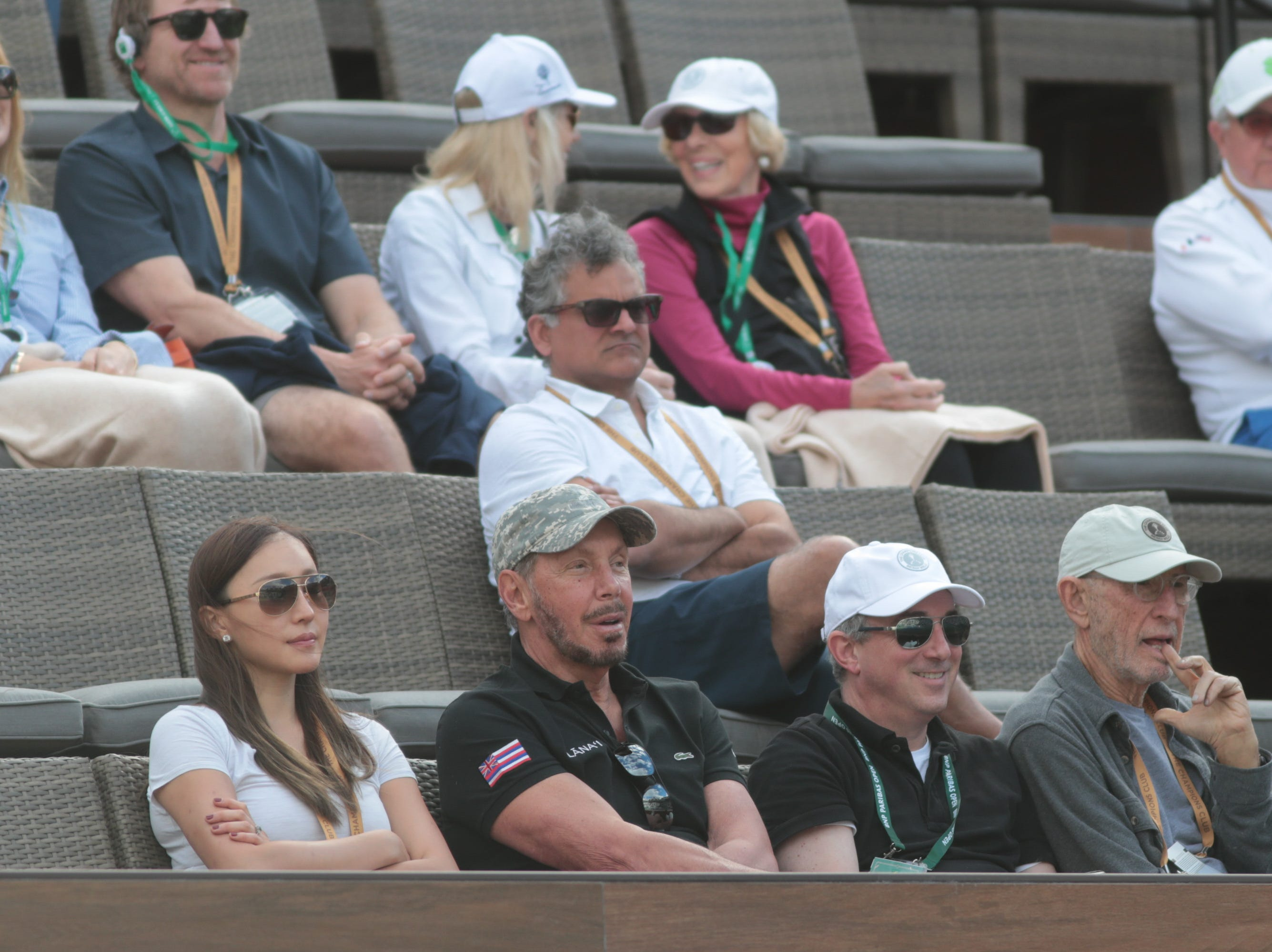 Larry Ellison watches a match between Sam Querrey and Matteo Berrettini at the BNP Paribas Open, Indian Wells, Calif., Thursday, March 7, 2019.