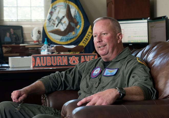 Capt. Christopher Martin reflects on his time as the commanding officer of Naval Air Station Pensacola during an interview Friday.