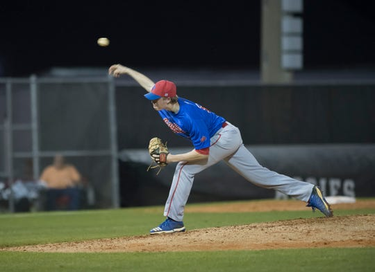 Tekoah Roby (10) pitches during the Pine Forest vs Tate baseball game at Tate High School on Thursday, March 7, 2019.  The Aggies won 4-3.