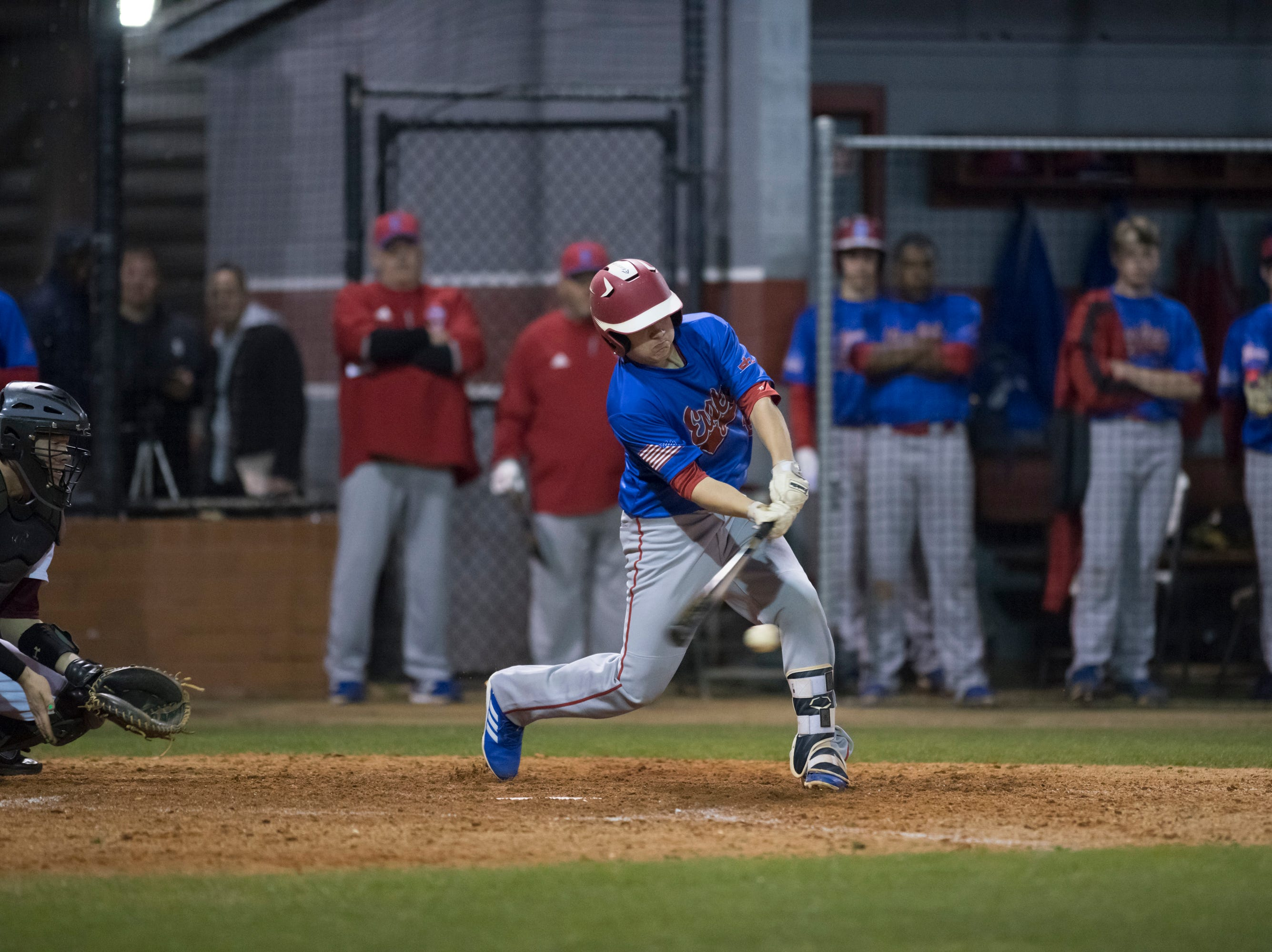 Bryce Alderman (16) bats during the Pine Forest vs Tate baseball game at Tate High School on Thursday, March 7, 2019.  The Aggies won 4-3.