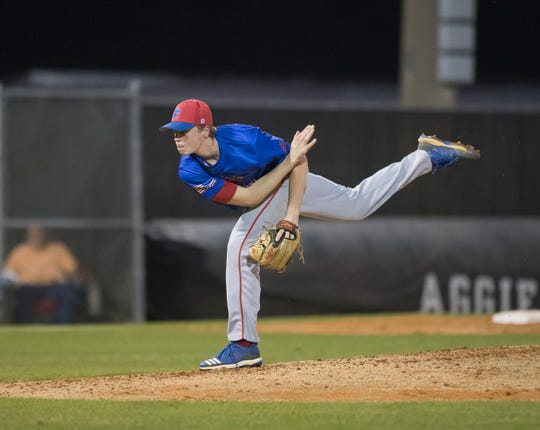 Tekoah Roby (10) pitches during the Pine Forest vs Tate baseball game at Tate High School on Thursday, March 7, 2019.