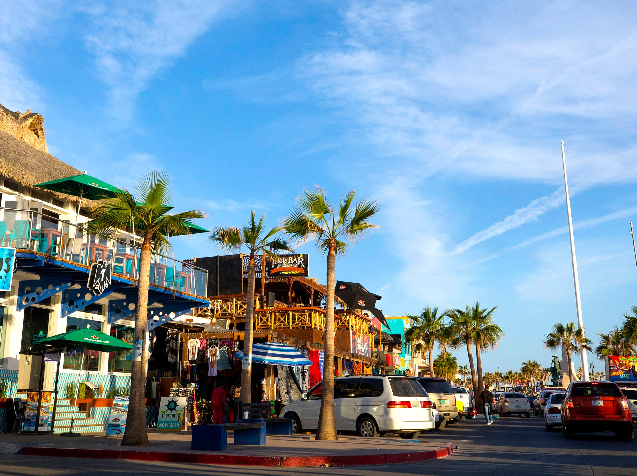 Eating, shopping and sunset watching can be enjoyed at the Malecon in Puerto Penasco, Mexico.