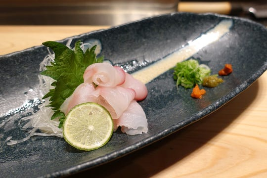 Fluke sashimi with yuzu kosho, chili daikon and malted yuzu at ShinBay in Scottsdale.