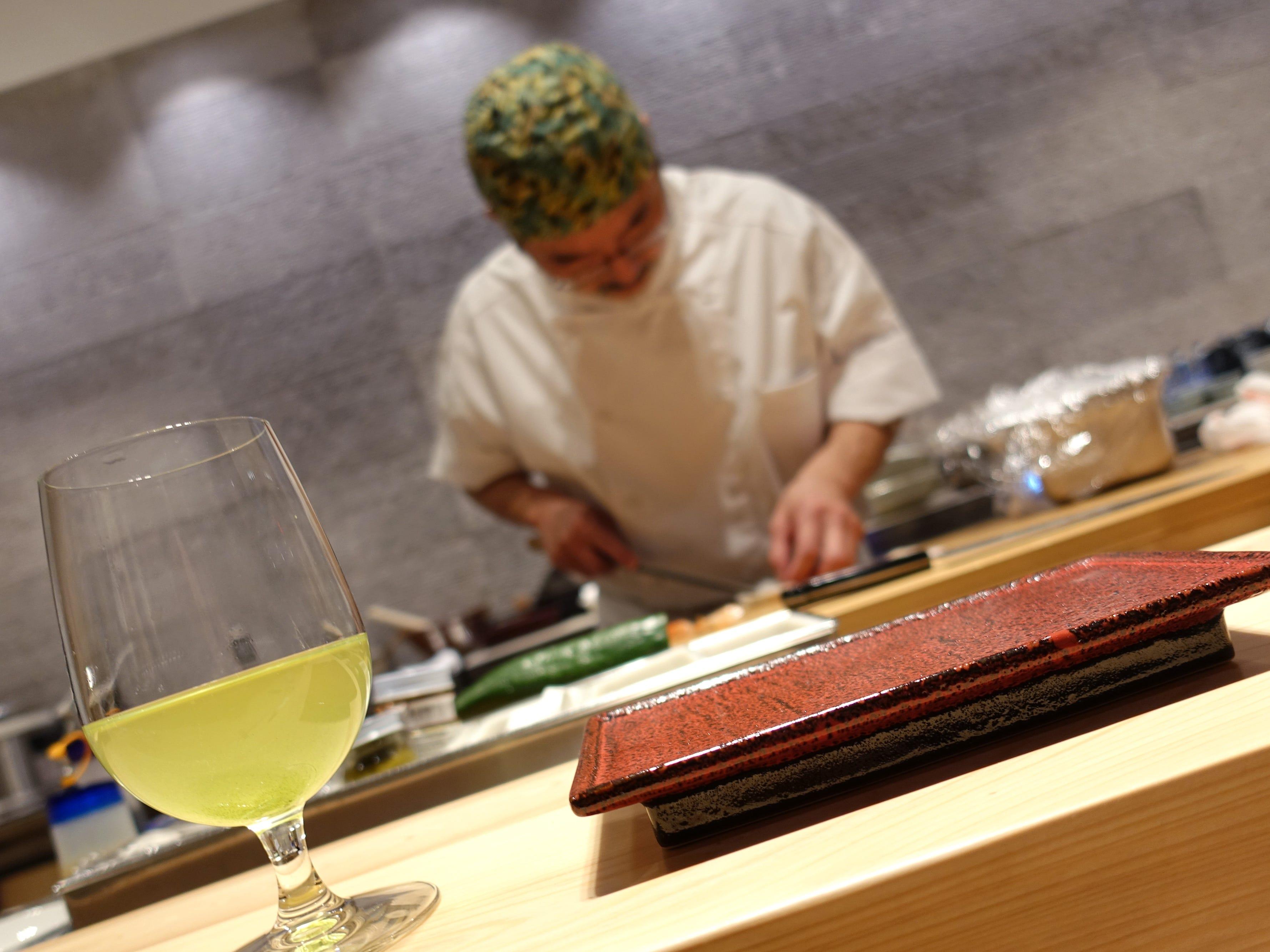 Chef Shinji Kurita prepares nigiri sushi at ShinBay in Scottsdale.
