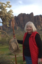 Author Betty Webb in the Superstition Mountains.