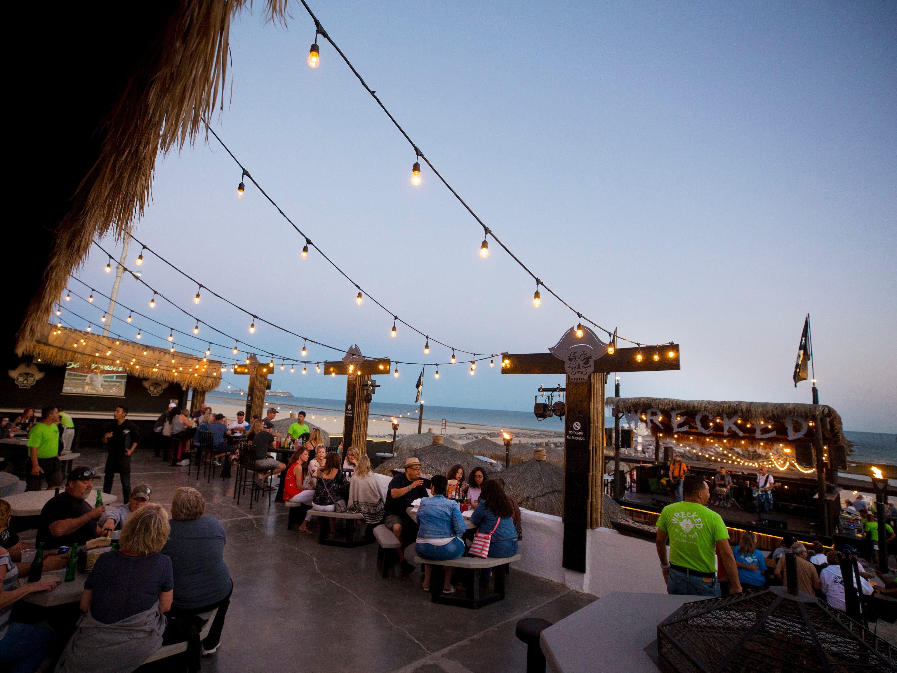 Wrecked at the Reef hosts a full menu, live music, bar, and volleyball all on beach front property in Puerto Penasco, Mexico.