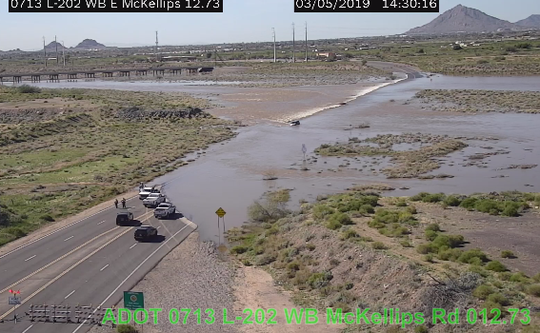 ADOT shared photo from the L-202 camera showing the flooding across McKellips Road.