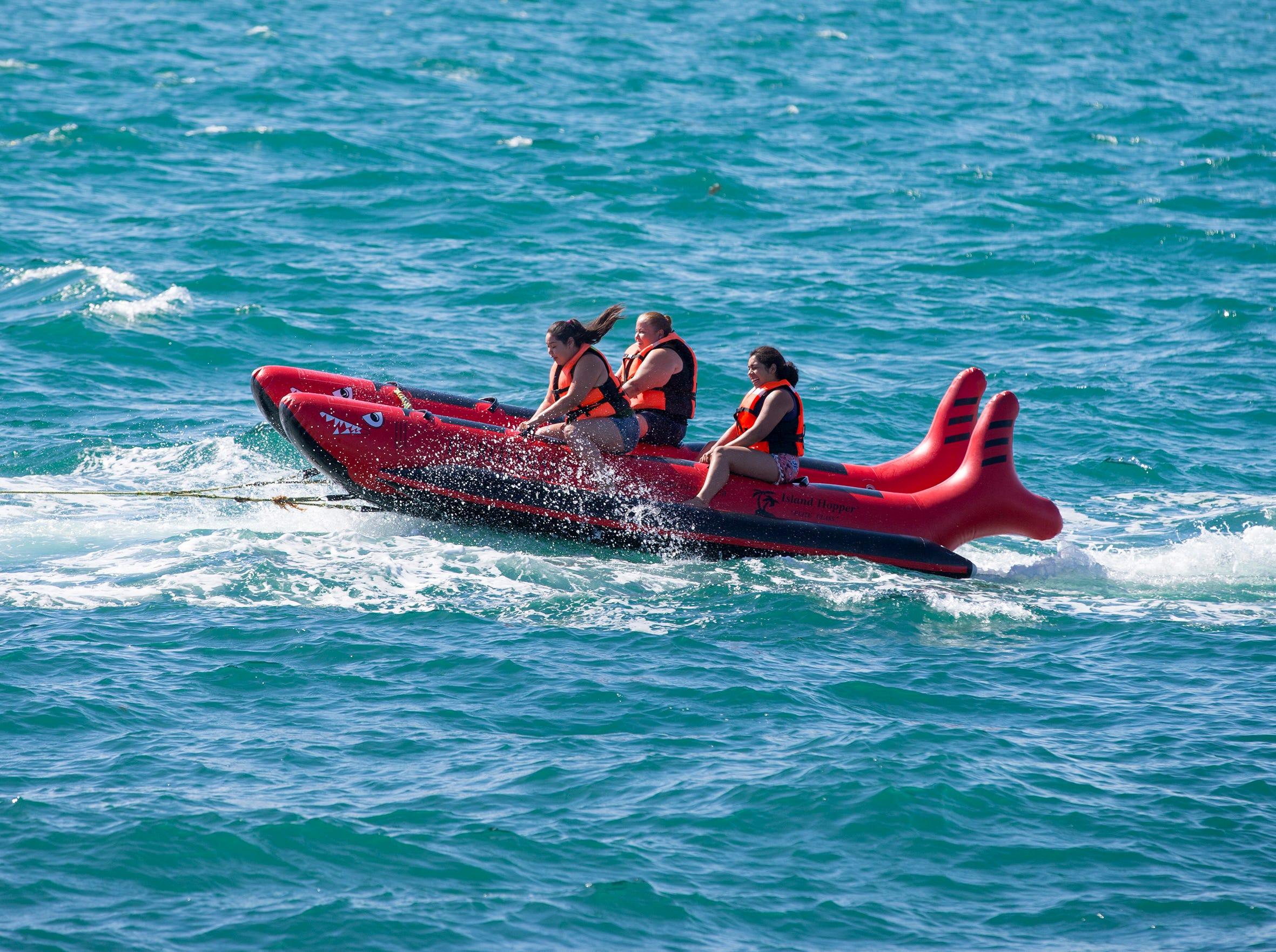 Banana boats are a popular form of entertainment in Puerto Penasco, Mexico.