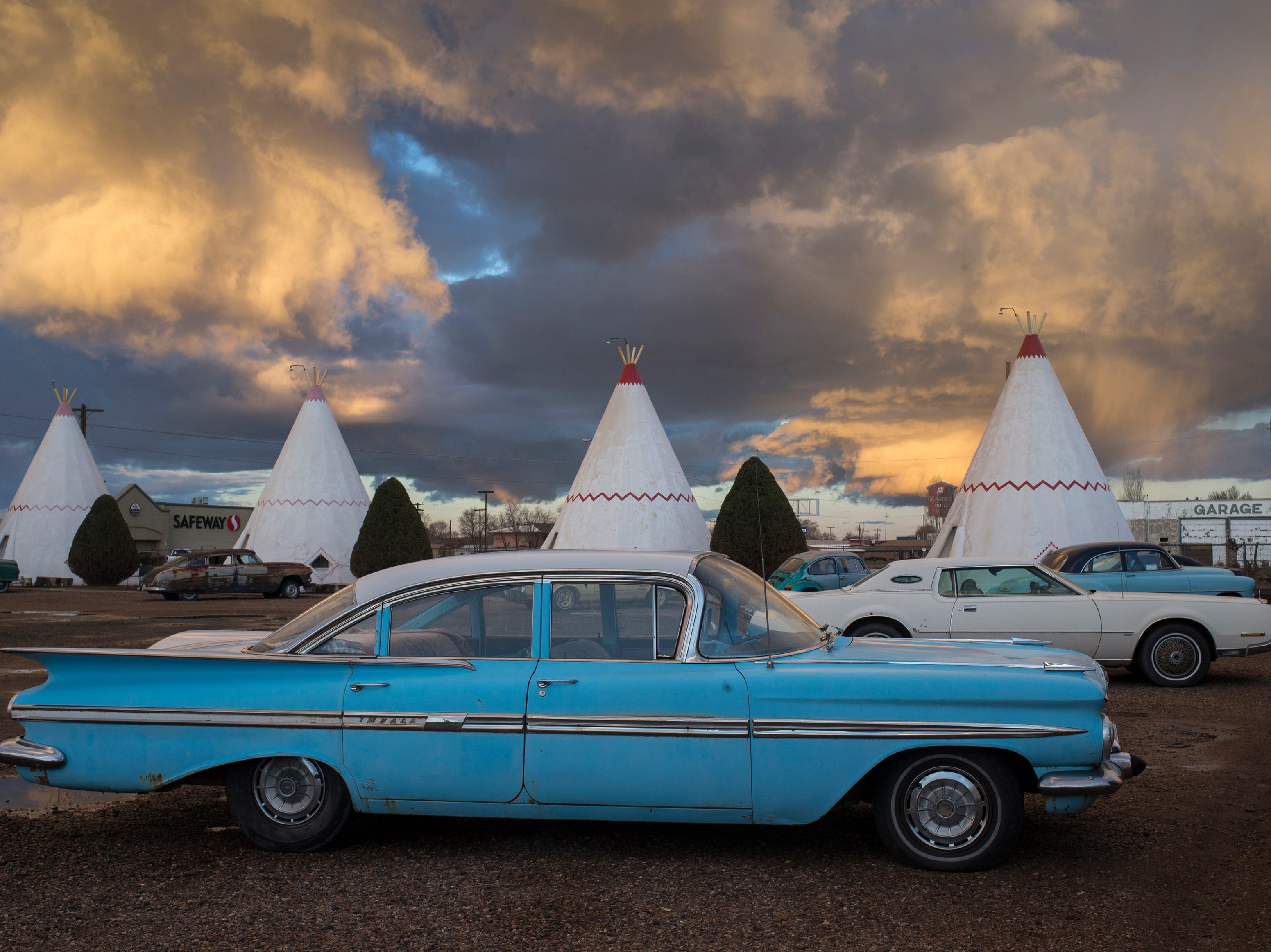 The sun sets on the Wigwam Motel, in Holbrook, Arizona. Wigwam Village #6 opened in 1950 as a motel, gas station and roadside attraction, a Route 66 trifecta.