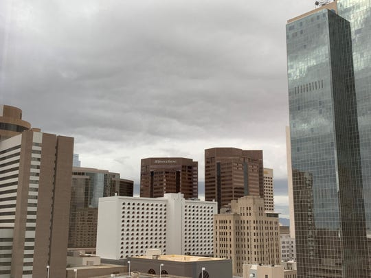Downtown Phoenix is covered in an early-morning blanket of clouds on March 8, 2019.
