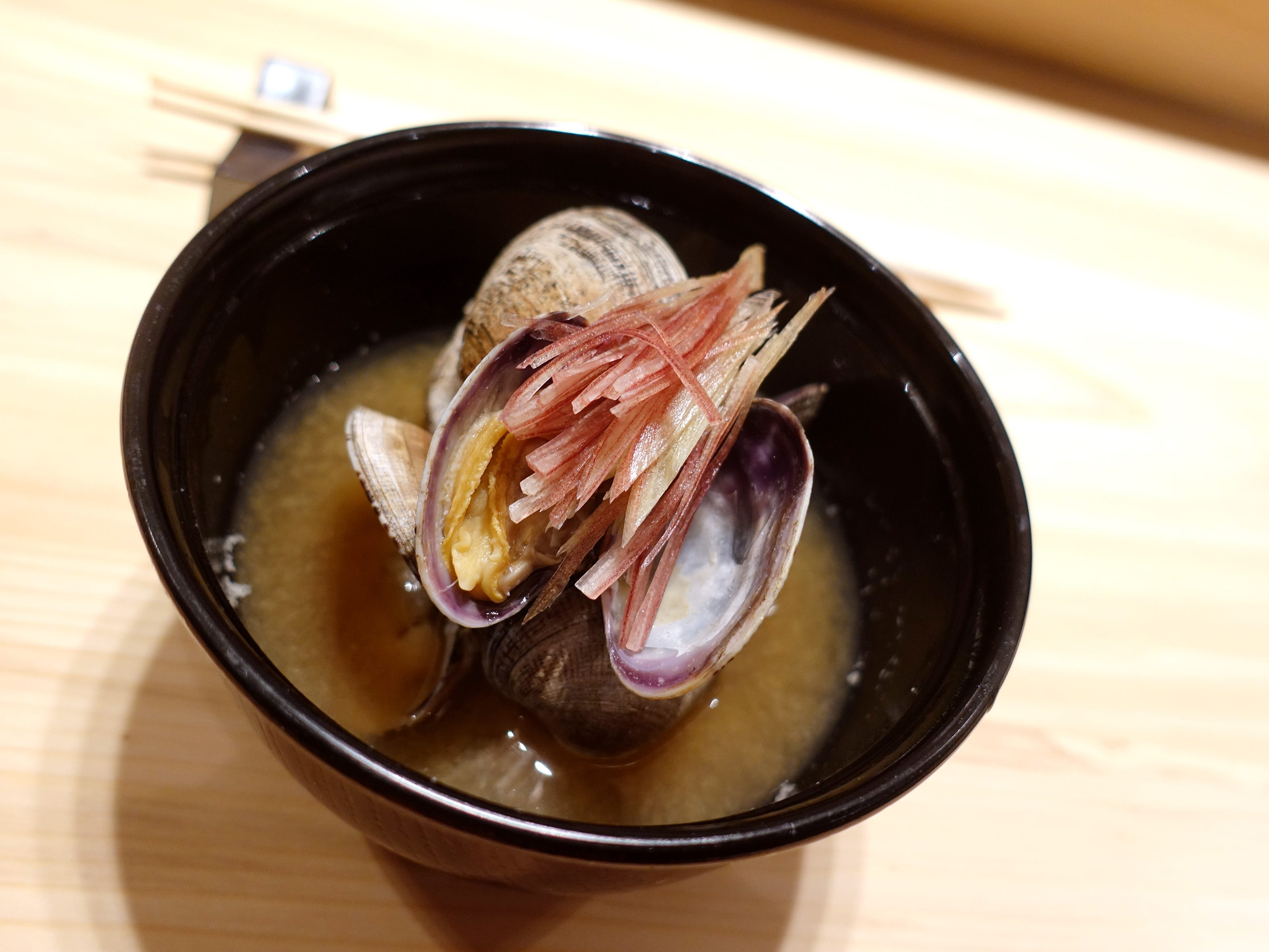 Miso soup with aka miso, saikyo miso, Manila clams and slivered myoga at ShinBay in Scottsdale.