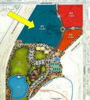 The arrow in this rendering of Gilbert Regional Park points at the 25 acres for The Strand @ Gilbert, a water park set to open in summer 2020.