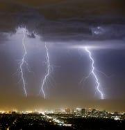 Monsoon storm over downtown Phoenix
