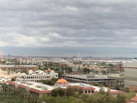 The clouds strech on toward the southeast Valley as seen from downtown Phoenix on March 8, 2019.