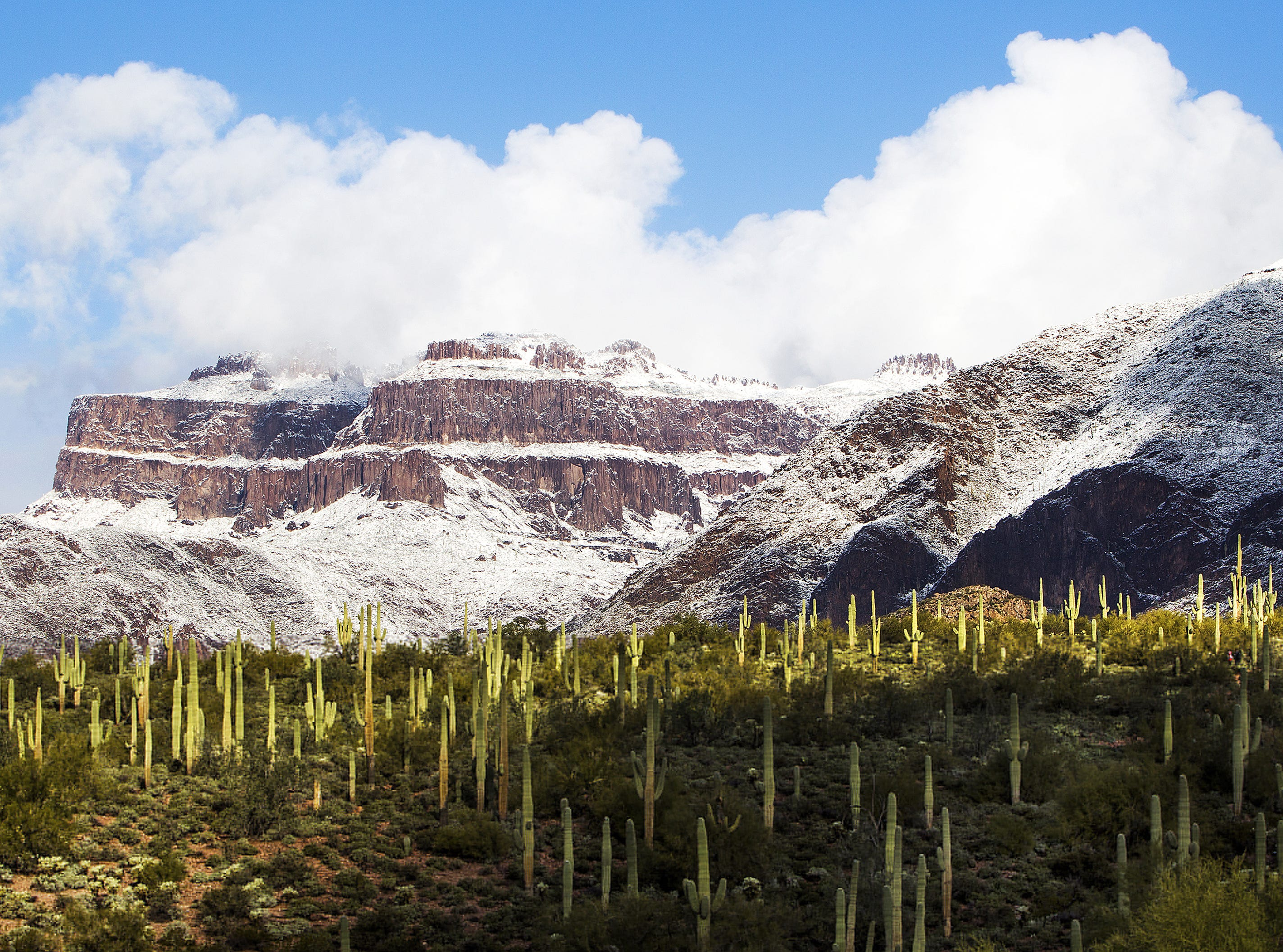 A light dusting of snow covers parts of the Superstition Mountains as seen from the Lost Goldmine Trail in Gold Canyon on New Year's morning, January 1, 2015.