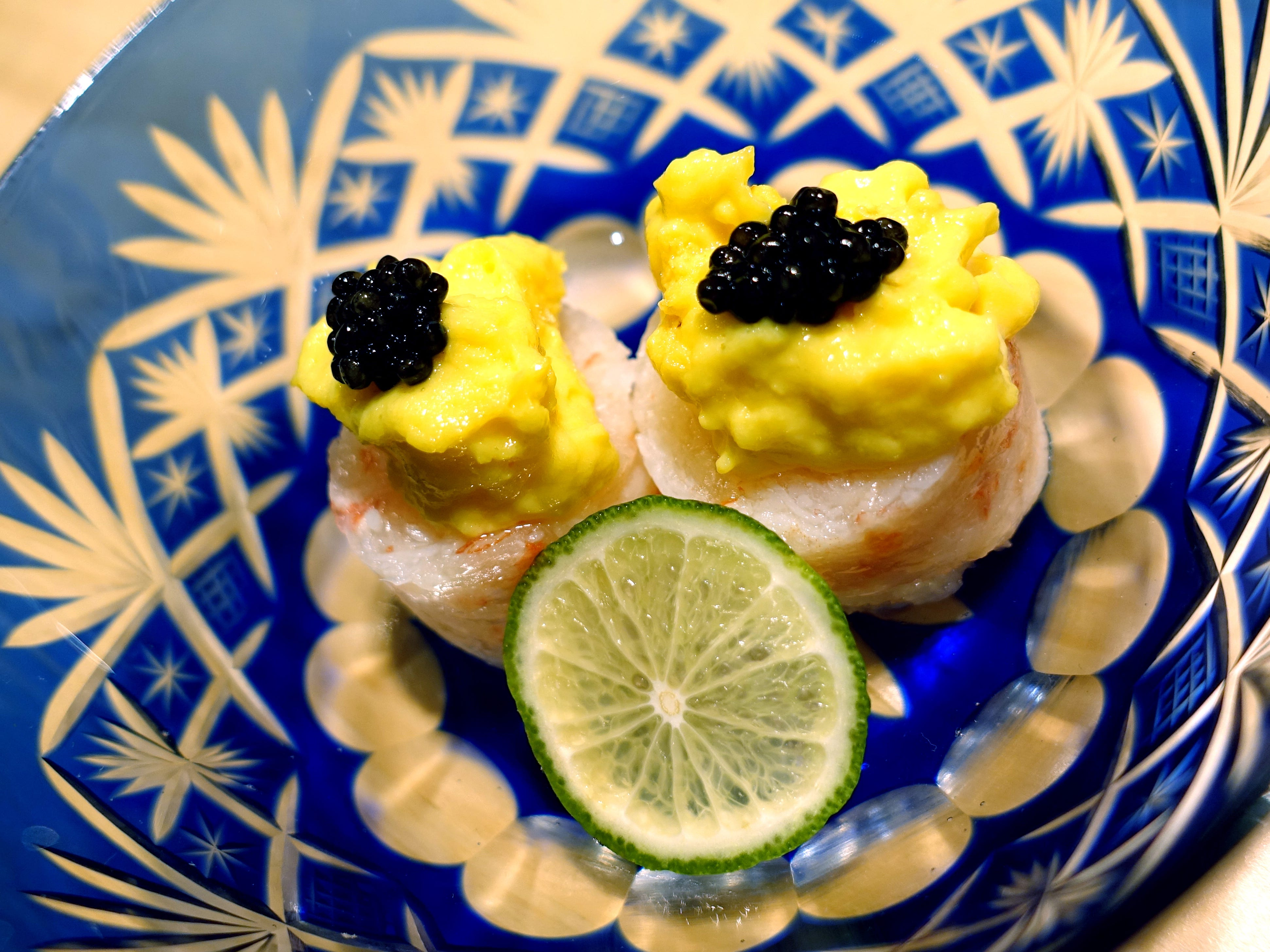 Snow crab with caviar and sweet vinegar and egg yolk sauce at ShinBay in Scottsdale.