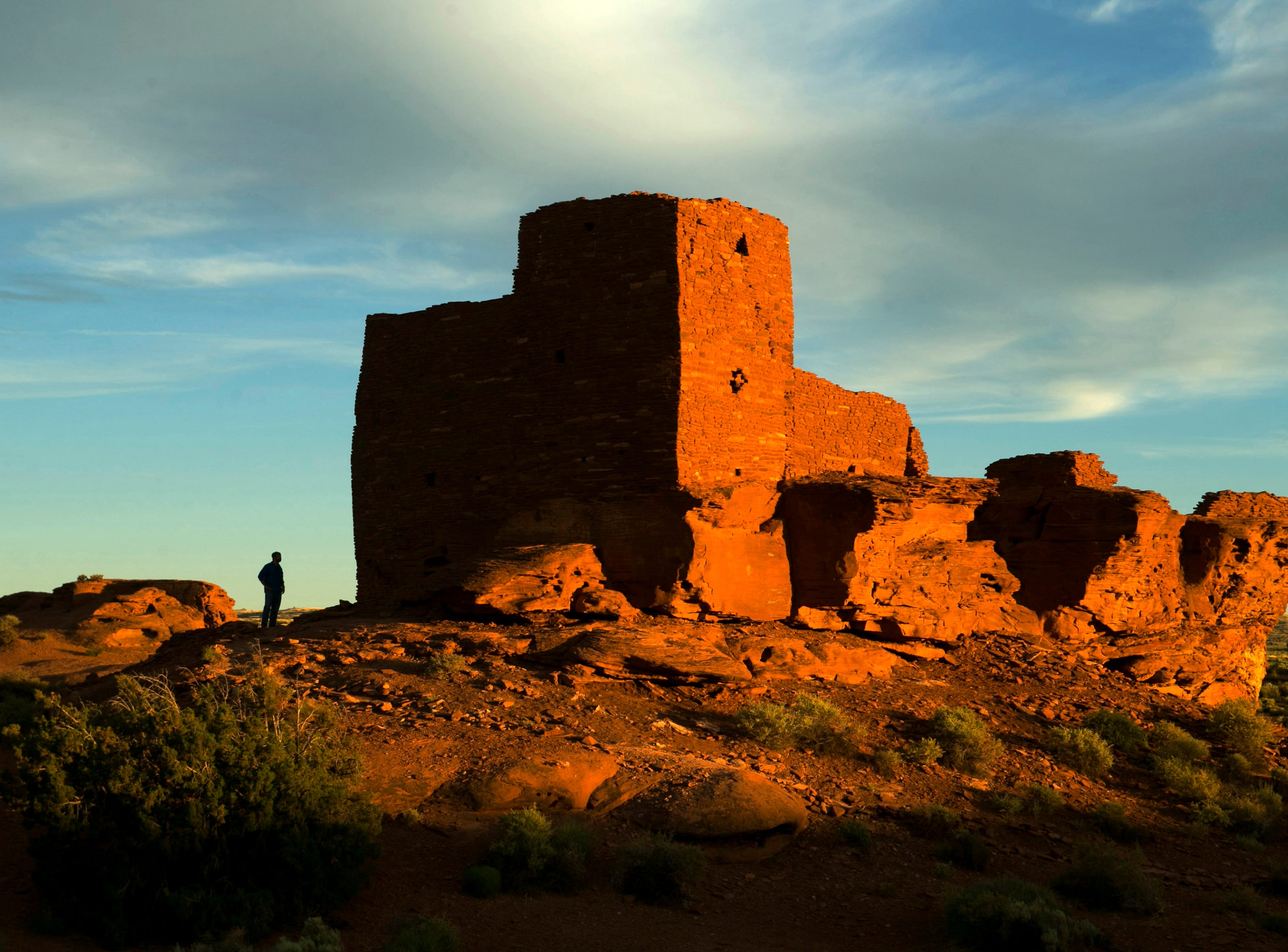 The Wukoki Pueblo at the Wupatki National Monument in Arizona is seen at sunset on June 4, 2014. It is believed to be around 800 years old.