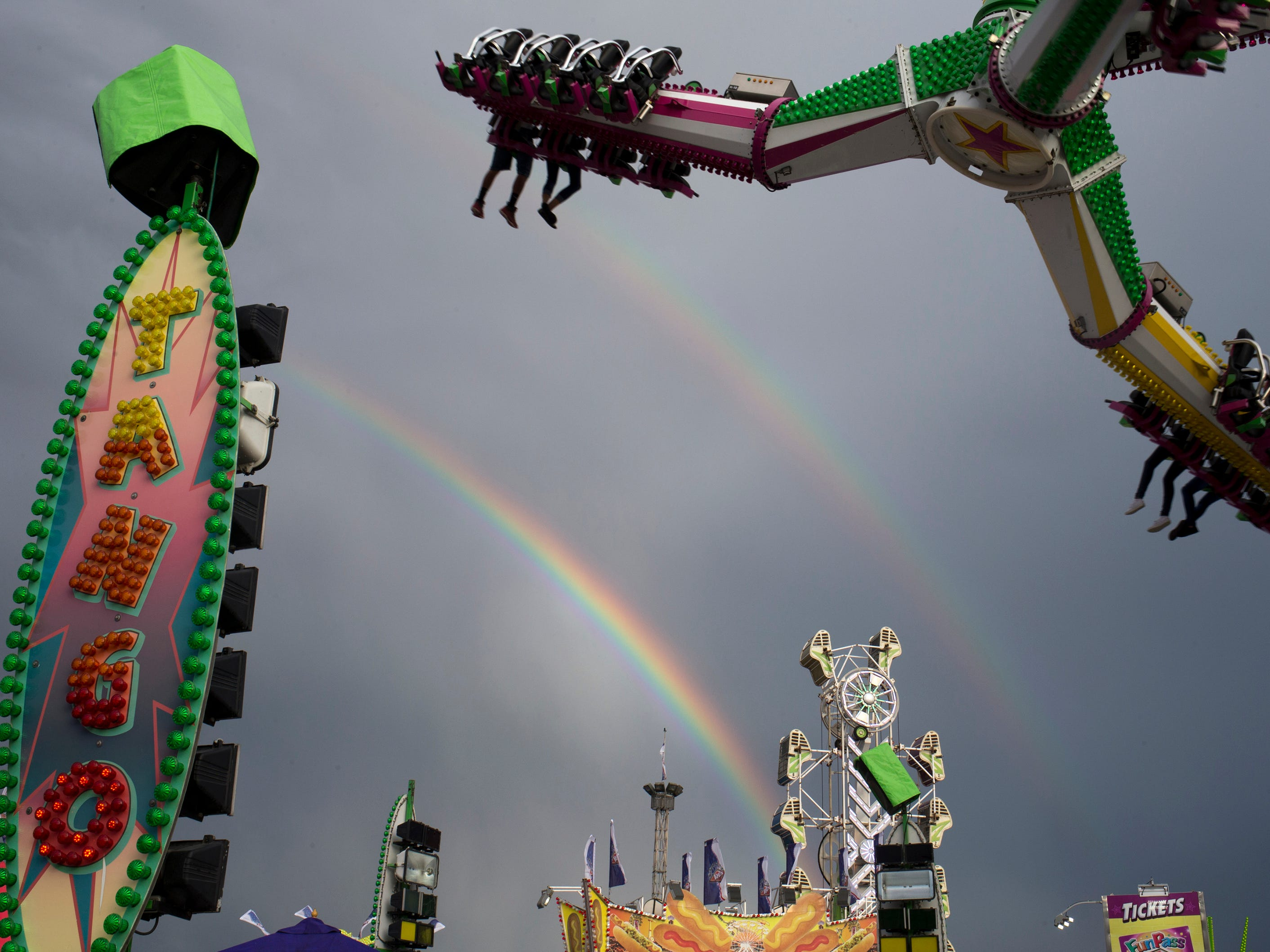 A double rainbow arches over the Arizona State Fair in Phoenix on October 16, 2015.