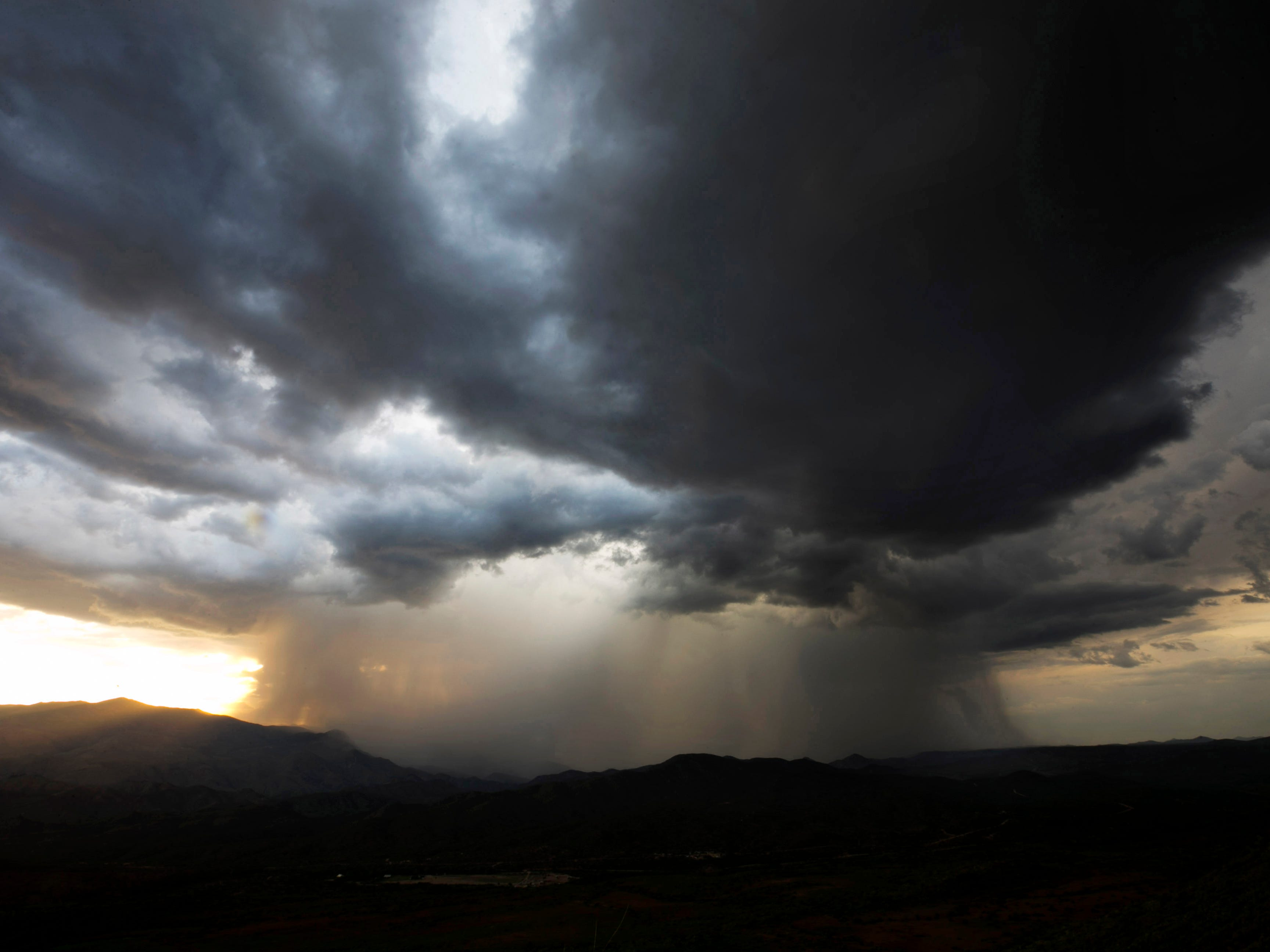 Monsoon storm moves in as seen from the Sunset Point Rest Area  outside Black Canyon City on August 13, 2018.