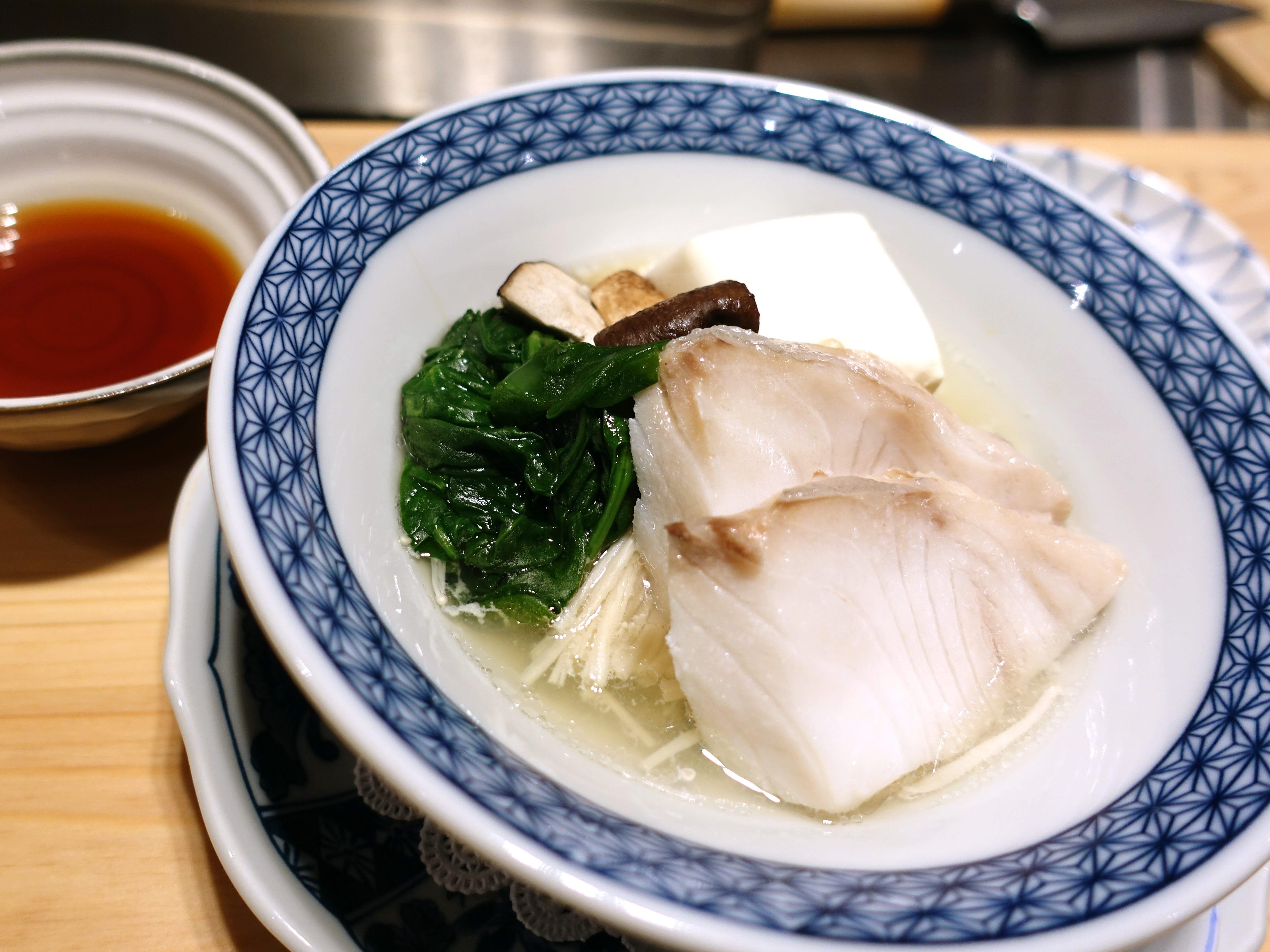 Chiri mushi with sake-steamed cod, spinach, tofu, enoki and shiitake mushrooms with ponzu at ShinBay in Scottsdale.