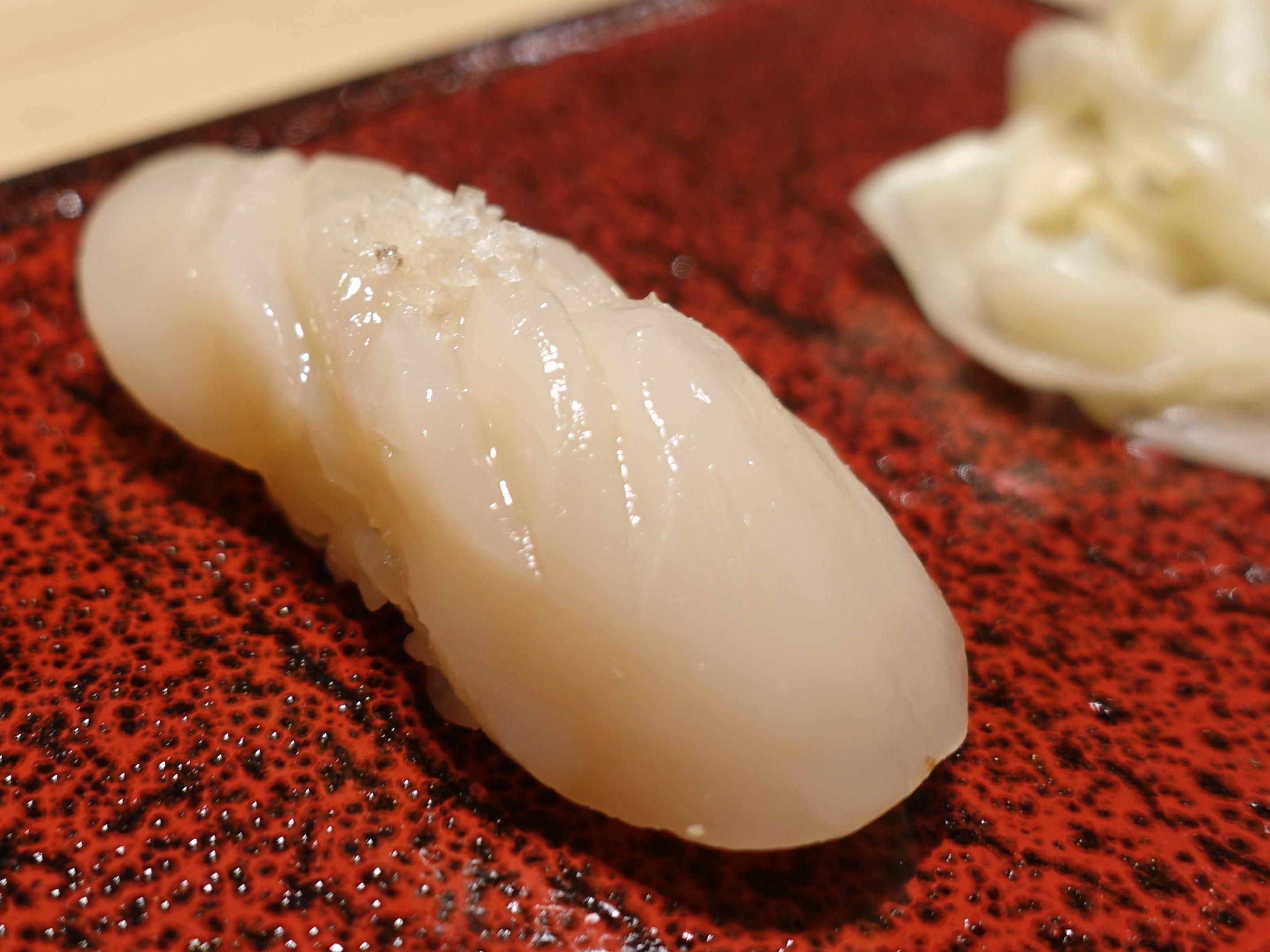 Konbu-cured scallop nigiri with yuzu and salt at ShinBay in Scottsdale.