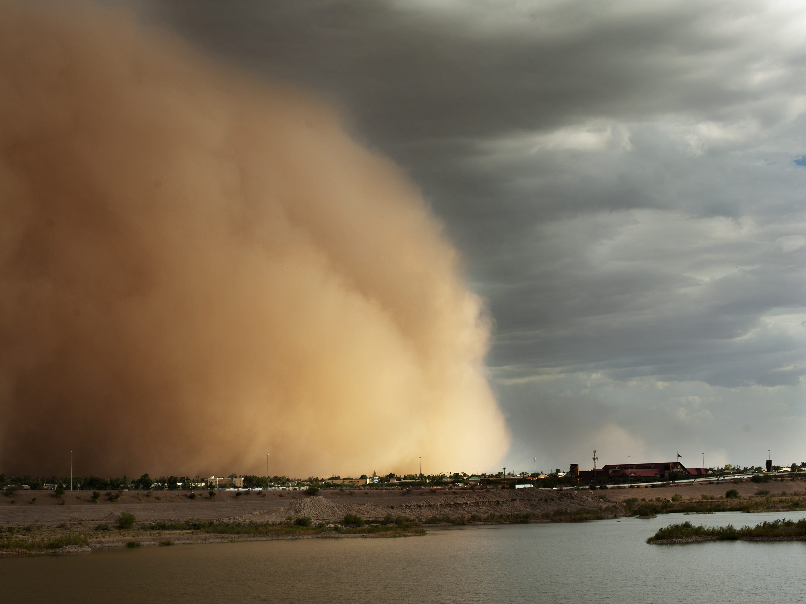 A dust storm blows through the Salt River Pima Maricopa Indian Reservation on July 21, 2012.