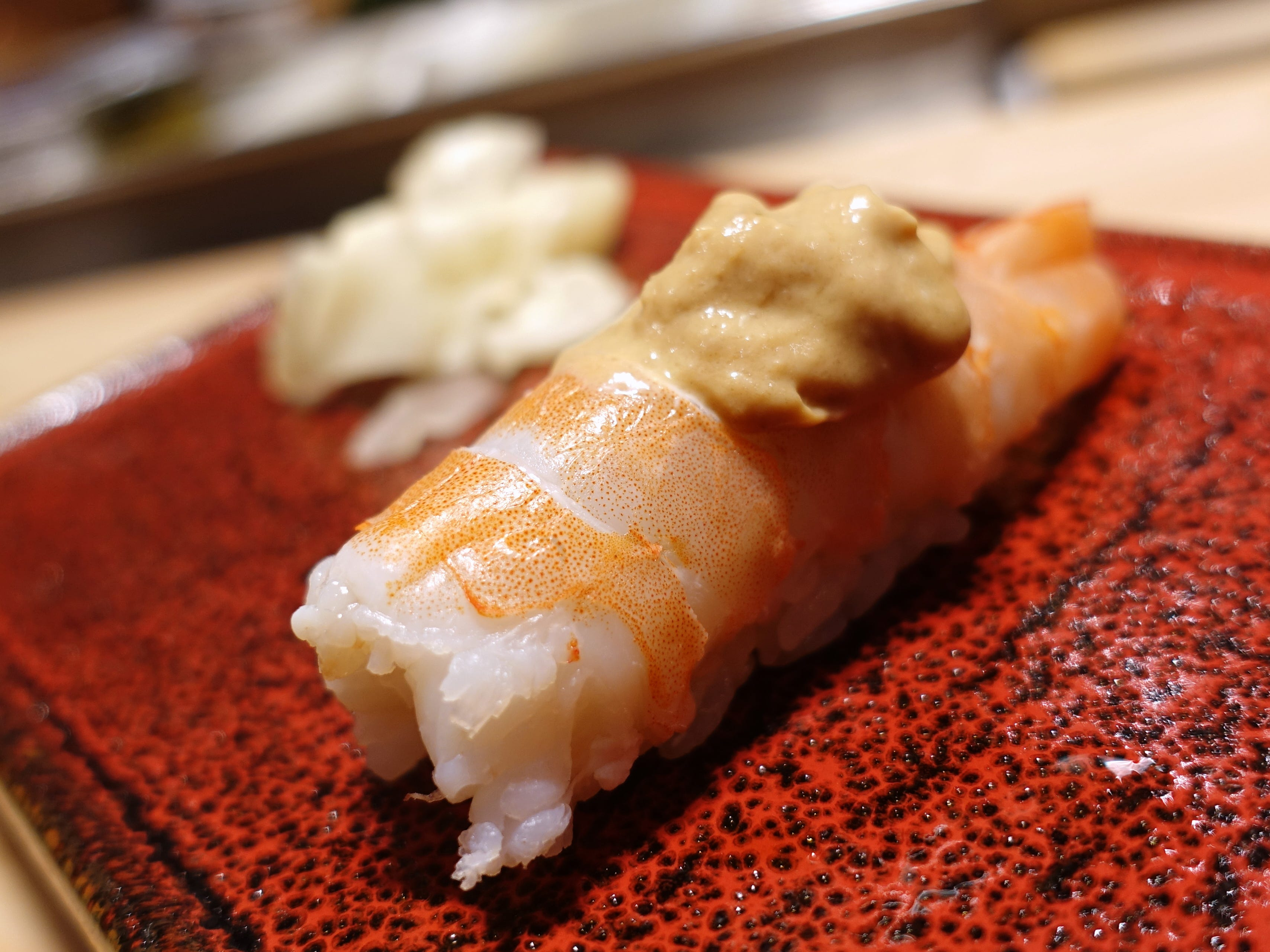 Shrimp nigiri with lobster head sauce at Shinbay in Scottsdale.