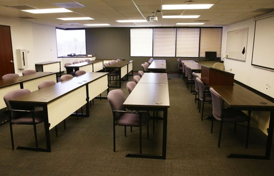 An empty classroom at Argosy University on March 8, 2019, in Phoenix.